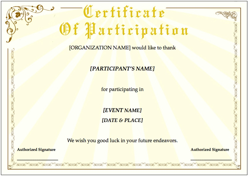 Template For Certificate Of Participation Participation