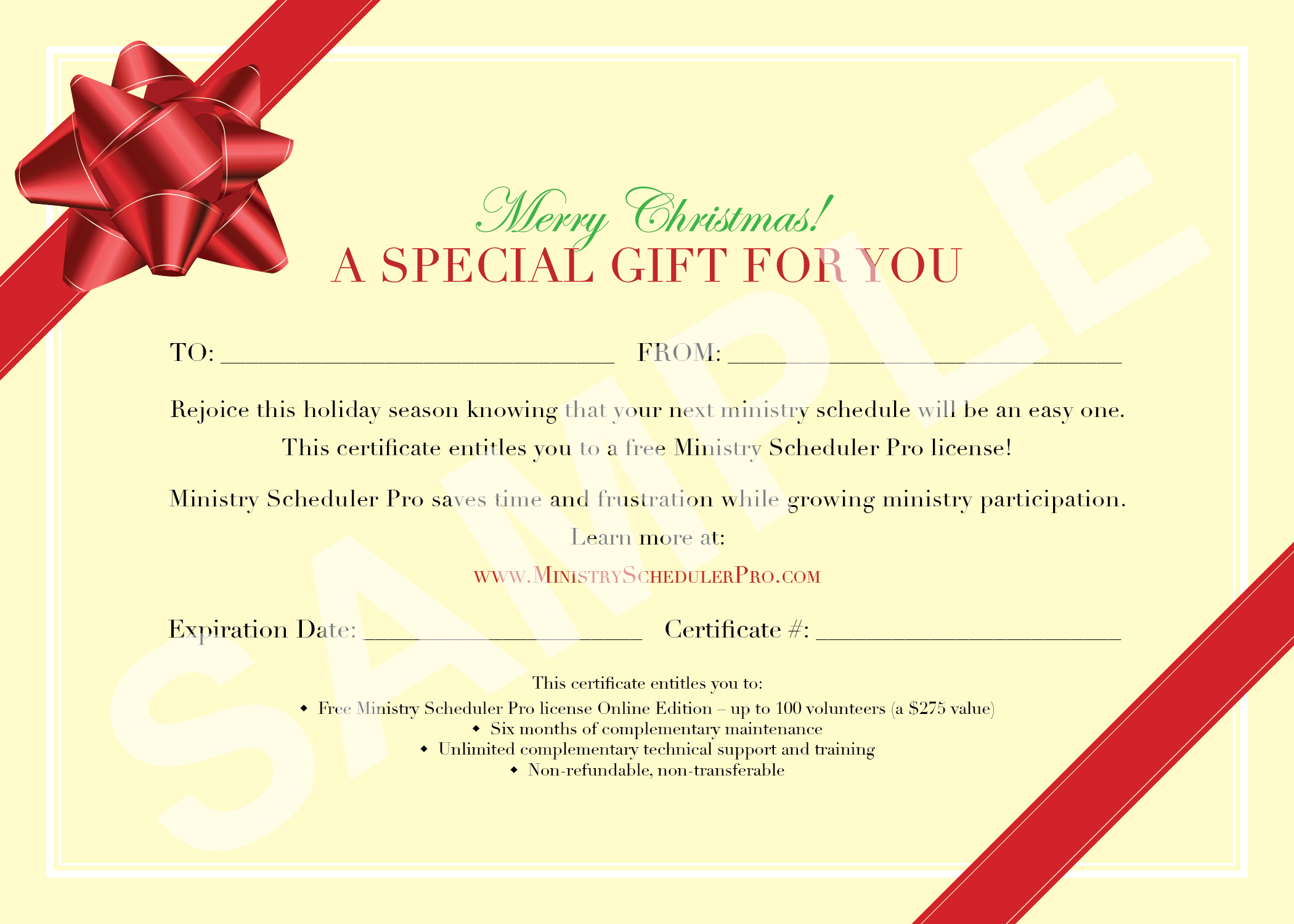Bow sample gift certificate template for Gift certificate example templates