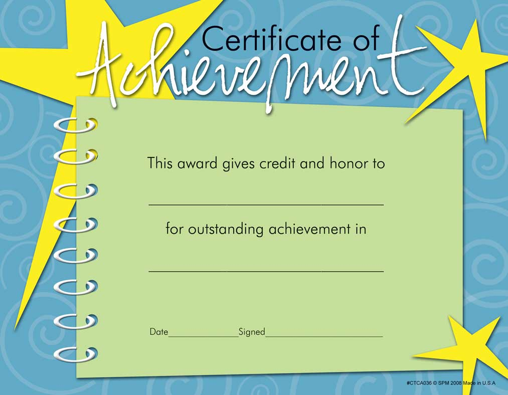 acheivement certificate templates